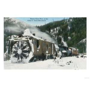 View of a Rotary Snow Plow in the Mountains   Co dAlene, ID Giclee
