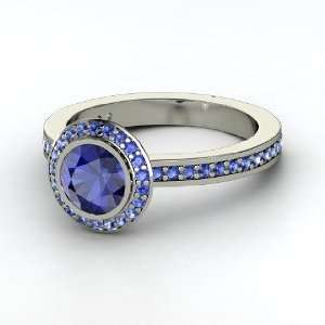 Roxanne Ring, Round Sapphire 14K White Gold Ring Jewelry