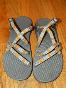 CHACO WOMENS ORANGE/GRAY SANDALS SHOES 10