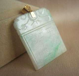 Fabulous Estate 14K Antique Double Side Carved Jadeite Jade Pendant