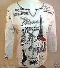 Cactus Fashion Rhinestone Cotton Print Shirt   Paris LG