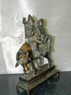 Shiva Parvati Ganesh on Nandi Statue Brass Sculpture10 975368413291