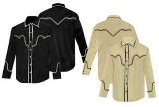 668ds Scully Western Cowboy Snap Shirt Nighthawk Retro Black