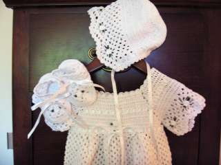 Crochet Baby Bonnet Booties Christening Gown Dress Set
