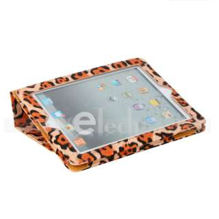 Orange Leopard PU Leather Case Cover For Apple iPad 2