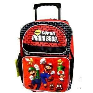 NINTENDO Super Mario Luigi Large Rolling Backpack with Insulated Lunch
