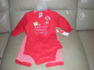 Valentines Day Infant Outfit Pants Shirt Size 3/6 Months New