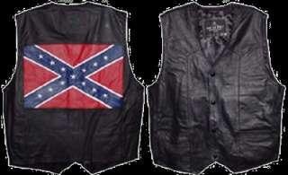 Black Leather Confederate Flag Motorcycle Vest Sz 3XL
