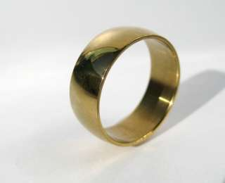 Mirror Finish Gold Plated Stainless Steel Wedding Band ring 8mm wide
