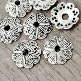 150pcs Tibetan Silver Tibet Style Flower Bead Ends Caps Findings