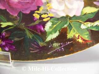 1883 SUPERB LIMOGES FRANCE HAND PAINTED BIRDS, FLORALS CHARGER SIGNED