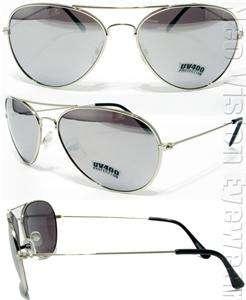 Lot of 3 Black Gold Silver Frame Aviator Sunglasses Silver Mirror
