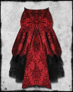 HELL BUNNY MAJESTY RED BLACK FLOCKED SATIN GOTH STEAMPUNK VICTORIAN