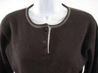 LULU BRAVO Brown Cashmere Long Sleeve Sweater Sz S