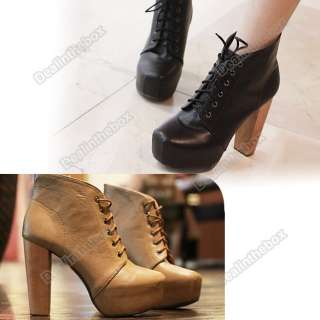 Platform Round Toe Lace Up High Heels Shoes Ankle Boots Booties