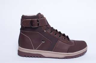 NEW MENS JHUNG YURO BROWN LEATHER HIGH TOP SNEAKERS ANKLE BOOTS SHOES