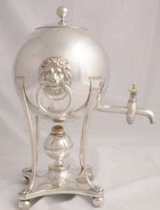 1800 FIGURAL LIONS HEADS SHEFFIELD PLATE SAMOVAR URN COFFEE POT