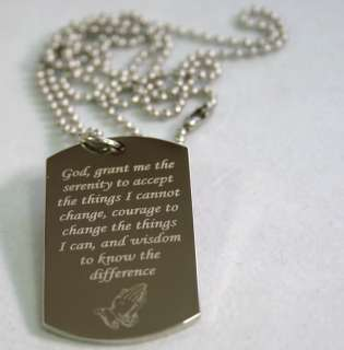 SERENITY PRAYER PEACE HOPE DOG TAG NECKLACE