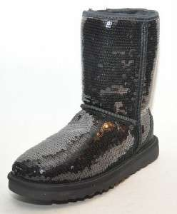 NEW UGG **Classic Short Sparkle** Black Sequin 3161 Mid Calf Women