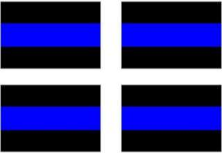 Thin Blue line Police decal, Reflective 4 Pack