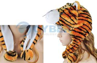 Cartoon Tiger Animals Cute Plush Fancy Dress Fluffy Costume Hat Cap