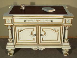 Antiqued White Hand Painted Office Desk Writing Table