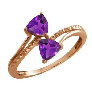 80 Ct Trillion Purple Amethyst Rose Gold Plated Argentium Silver