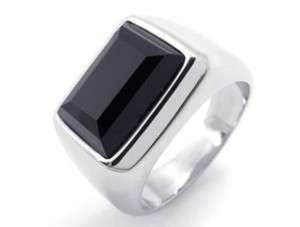 Mens Black Crystal Silver Stainless Steel Ring Sz8~12