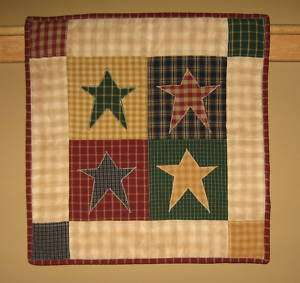 Hanging Quilt Primitive Country Scrappy Stars 18 x18 inch Homespun