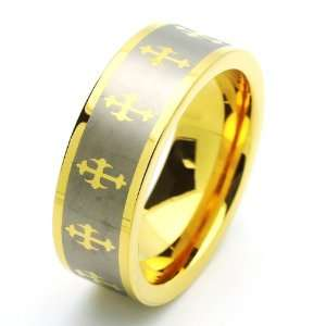 Gold Plated Celtic Cross Ring (5 to 15) Size 5 Cobalt Free Jewelry