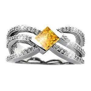 Crown Princess Cut 14K White Gold Ring with Fancy Orange