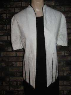 VINTAGE 80s CHIC BLACK & WHITE DRESS SUIT OUTFIT M 10