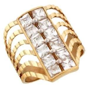 Solid Yellow Gold Diamond Cut CZ Eye Catching Ring Jewelry Jewelry