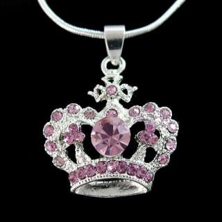 Pink Crown Crystal Pendant Jewelry Necklace Fashion KC93I