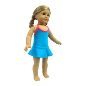 Girl Doll Clothes Blue with Pink Skirted Bathing Suit Toys & Games