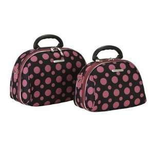 Piece Cosmetic Case Set in Black and Pink Dots by Fox Luggage Beauty