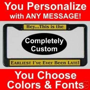 Black PERSONALIZED License Plate Frame Custom Engraved