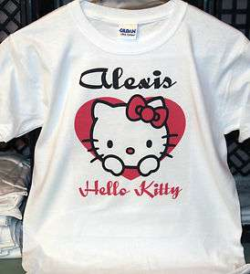 Cute Personalized Hello Kitty in Heart T Shirt