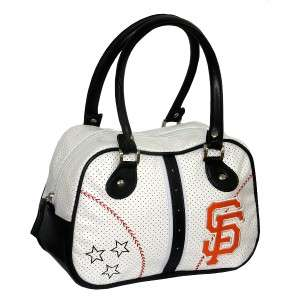 San Francisco GIANTS MLB White BAG w Black Trim & SF Letter Logo & 2