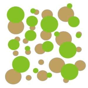 set of 106 Gold and Lime Green polka dots Vinyl wall lettering