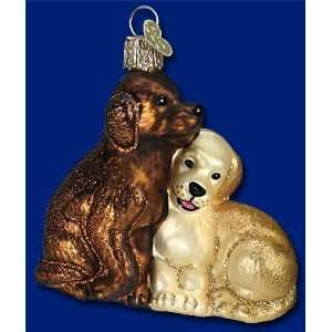 Mercks Family Old World Christmas glass Puppy Love dog