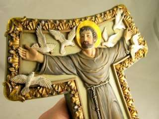 Saint St. Francis Franciscan Tau Wall Cross Jesus Dove
