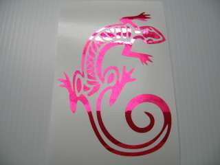 Pink Chrome Dancing Lizard Vinyl Decal