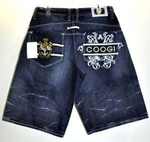 Coogi Mens Nautical Dark Blue Denim Jean Shorts Size 34 NEW