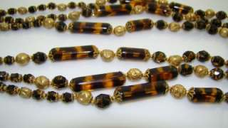Haskell Art Glass Faux Tortoise Necklace Russian Gold Plate