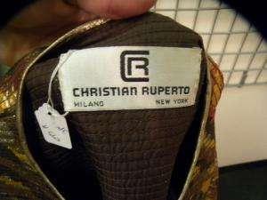 CHRISTIAN RUPERTO brown/gold shimmer skirt suit 10 12