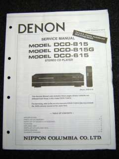 Original Denon DCD 815/815G/615 Service Manual |