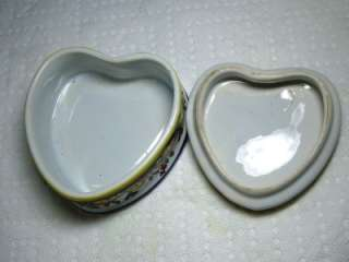 Decor Rouen Fait Main A.E. Faience French Lidded Heart Shape Trinket
