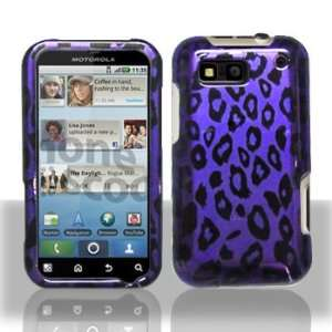 Motorola Defy MB525 Purple/Black Leopard Hard Case Snap on
