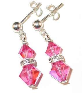 SWAROVSKI CRYSTAL ELEMENTS Sterling Silver Earrings ROSE PINK Pierced